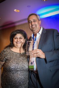 Neel Chatterjee with SABANA President Anne Gwal; Photo courtesy of Bhavin Misra, User of Reality Photography