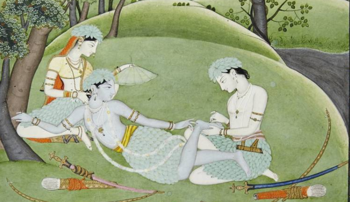 'Rama and Sita in the Forest: A Thorn Is Removed from Rama's Foot,' from the Punjab Hills (c. 1800-10)