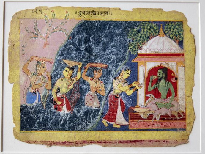 'The Sage Durvasa Helps the Gopis Quiet the Yamuna River' originates from North India and is dated to around 1580.