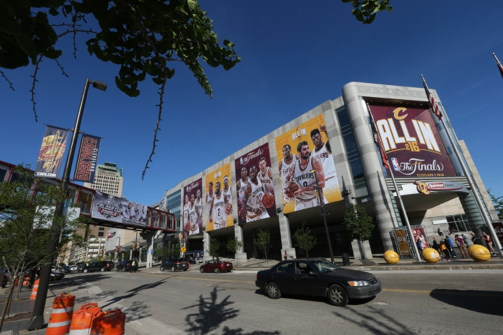 A general exterior view of the Golden State Warriors against the Cleveland Cavaliers in Game Three of the 2016 NBA Finals on June 8, 2016 at Quicken Loans Arena in Cleveland, Ohio. Joe Murphy/NBAE via Getty Images