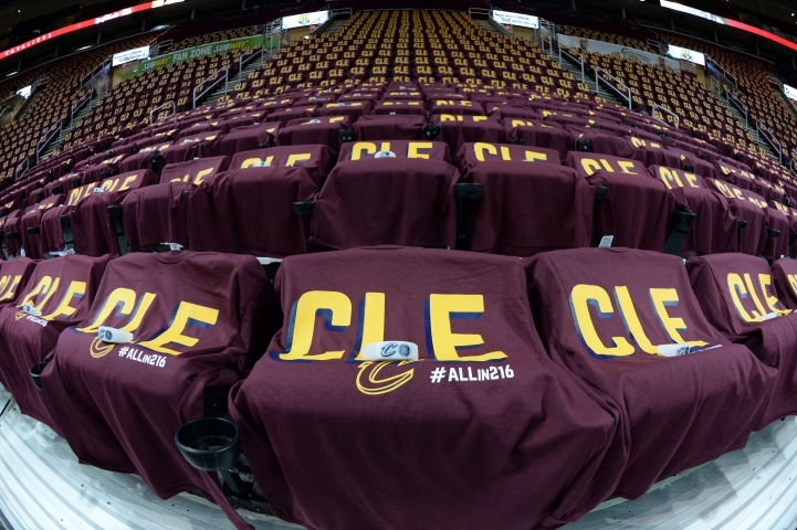 An overall of Quicken Loans arena prior to Game Four of the 2016 NBA Finals between the Golden State Warriors and the Cleveland Cavaliers on June10, 2016 at Quicken Loans Arena in Cleveland, OH. Andrew D. Bernstein/NBAE via Getty Images