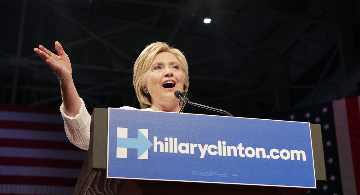 Hillary Clinton speaks during a presidential primary election night rally on June 7 in New York. | AP Photo