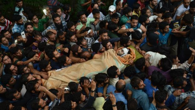 Thousands attended Wani's funeral which was held in his hometown of Tral