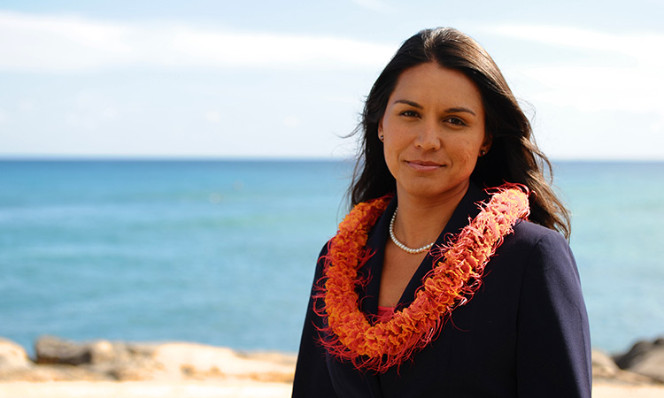 Tulsi Gabbard, the first Hindu to be elected to the U.S. Congress.