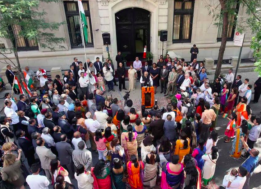 Celebrations in New York including a special hoisting of the Indian flag.