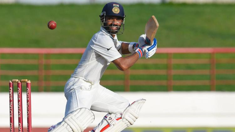 Ajinkya Rahane of India hits during a recent cricket match against the West Indies in St. Lucia. (RANDY BROOKS/AFP/Getty Images)
