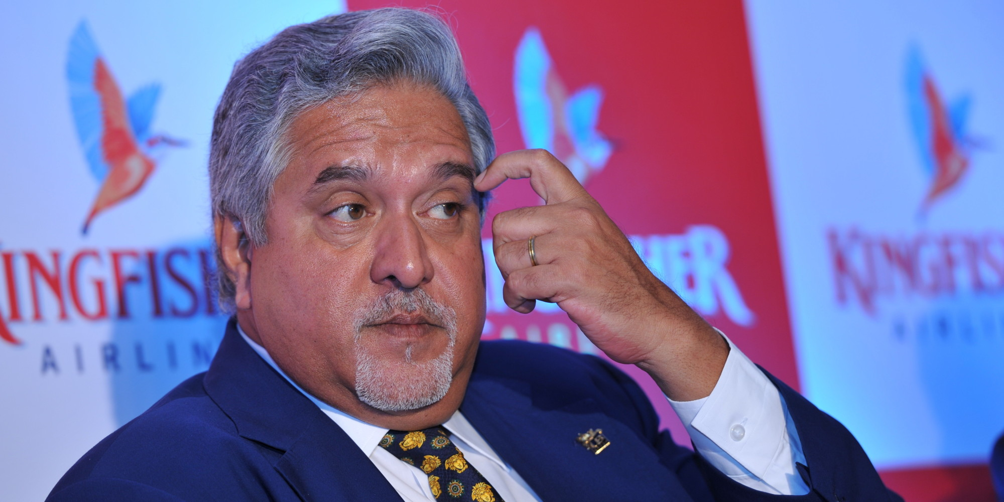 Vijay Mallya, disgraced former chairman of Kingfisher Airlines at press conference.