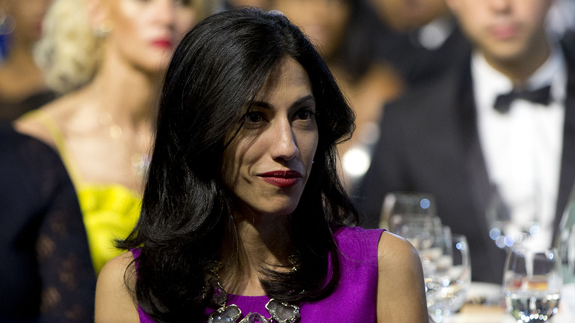Huma Abedin, aide to Democratic presidential candidate Hillary Rodham Clinton, attends the Congressional Black Caucus Foundation's 45th Annual Legislative Conference Phoenix Awards Dinner at the Walter E. Washington Convention Center in Washington, Saturday, Sept. 19, 2015. (AP Photo/Carolyn Kaster)