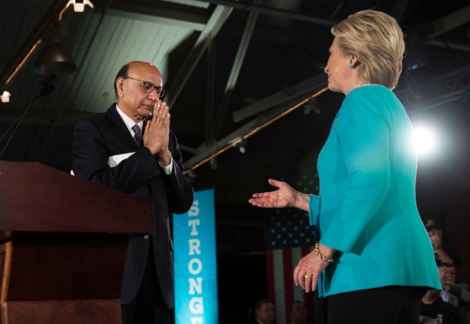 Khizr Khan and Hillary Clinton on Sunday in Manchester, N.H. The campaign has used Mr. Khan sparingly but effectively.
