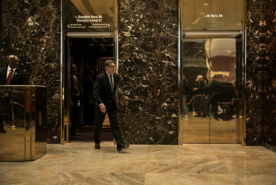 Former Gov. Rick Perry of Texas leaving Trump Tower, where President-elect Donald J. Trump is interviewing candidates for top administration posts, on Monday.