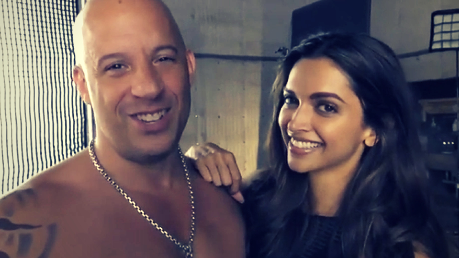 Deepika with Vin Diesel at the shoot of xXx.