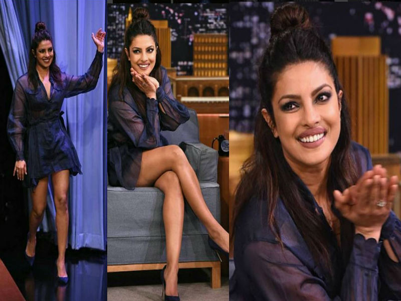 Priyanka Chopra dressed in blue for Jimmy Fallon's Show