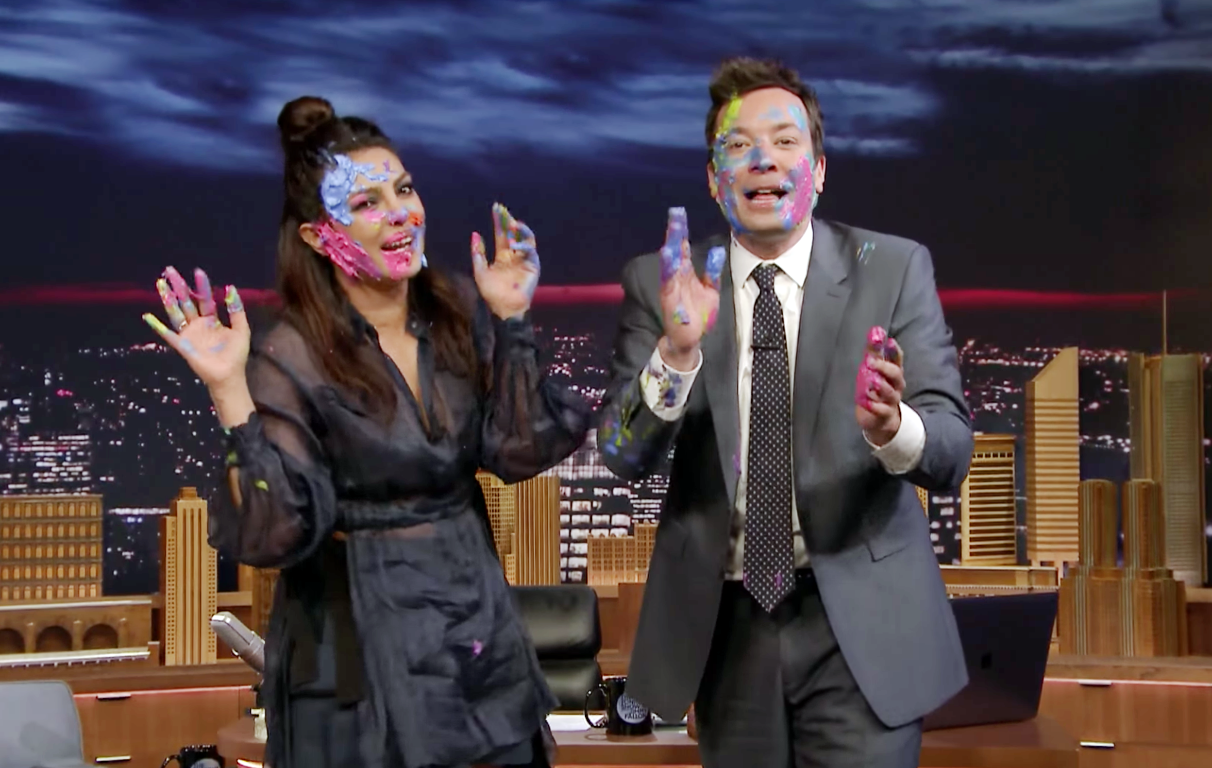 Priyanka Chopra and Jimmy Fallon play Holi on Fallon Tonight. Courtesy: Fallon Tonight