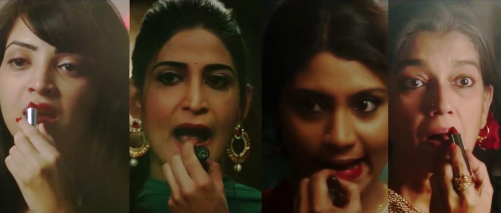 (Left to Right): Plabita Borthakur, Aahana Kumra, Konkona Sen Sharma, Ratna Pathak in the movie, 'Lipstick Under My Burkha', the contraversial film that opened the 15th annual Indian Film Festival of Los Angeles on April 5th, 2017