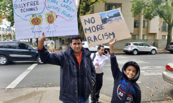The Vennala family drove all the way from Los Angeles to speak at this public hearing.