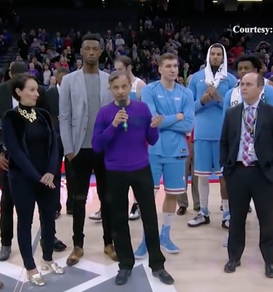 Vivek Ranadive addressing the crowds at the Golden One Center, just before the game, in light of Stephon Clark shooting. Photo: Sacramento Kings